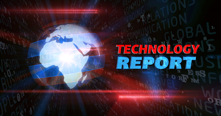 Technology report graphics. Globe and title in television broadcast style. 写真素材