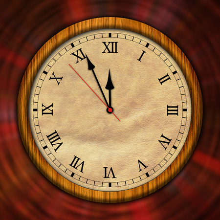 Retro style clock 3D illustration. The old timer, second hand and minute hand with roman numerals. Stockfoto