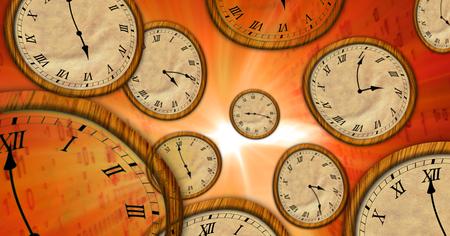 Il tempo scorre su orologi volanti nello spazio astratto. Concetto surreale 3d illustrazione del viaggio nel tempo. Archivio Fotografico