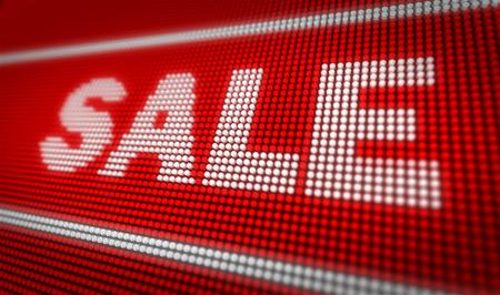 Sale title on big LED display. Promotional message 3d illustration.