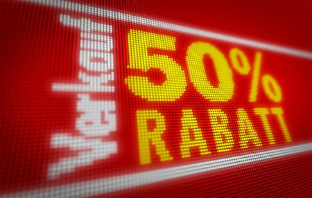 Verkauf (sale in german) 50% title on big LED display. Promotional message 3d illustration. Standard-Bild - 104443041