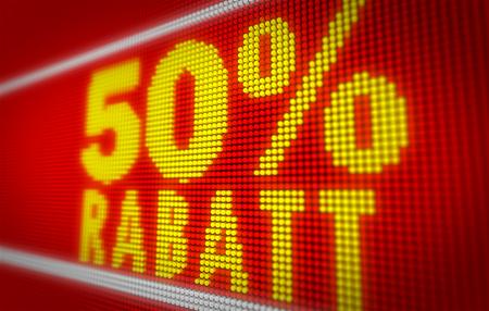 Verkauf (sale in german) 50% title on big LED display. Promotional message 3d illustration. Standard-Bild - 104443044