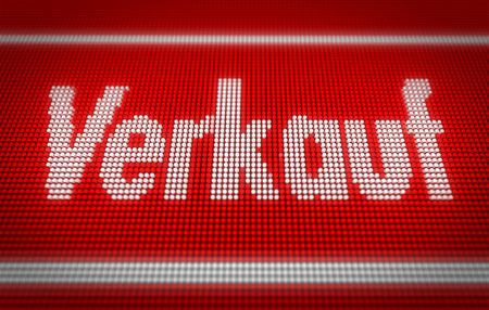 Verkauf (sale in german) title on big LED display. Promotional message 3d illustration. Standard-Bild - 104443045