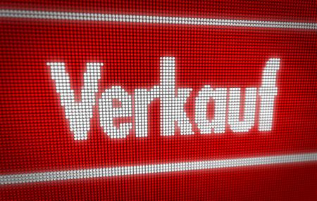 Verkauf (sale in german) title on big LED display. Promotional message 3d illustration. Standard-Bild - 104443046