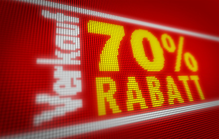Verkauf (sale in german) 70% title on big LED display. Promotional message 3d illustration. Standard-Bild - 104442377