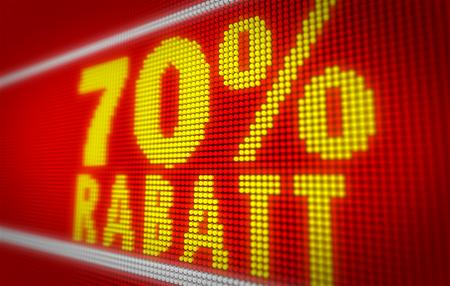 Verkauf (sale in german) 70% title on big LED display. Promotional message 3d illustration. Standard-Bild - 104442381