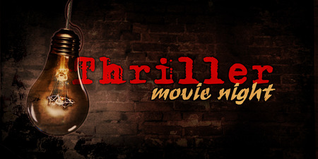 Cinema thriller night with bulb and brick wall in background illustration Stok Fotoğraf