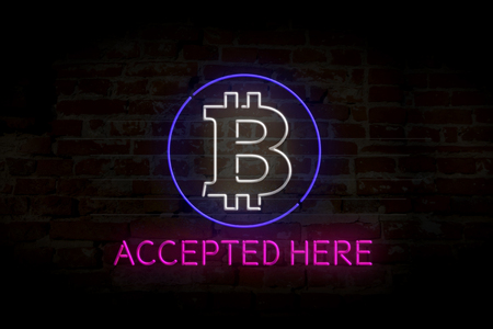 Bitcoin accepted here 3D neon lights 3D illustration. Banque d'images