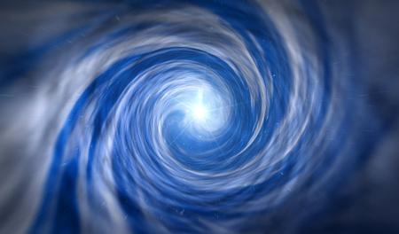 Viaja por el túnel del tiempo. Concepto abstracto de agujero de gusano, vórtice de tiempo, ciencia y física ilustración 3D.