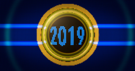 2019 year particles style. Colorful dots in the shape of 2019 3D illustration.