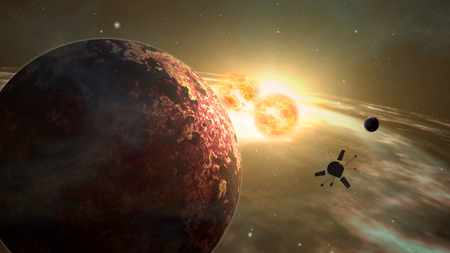 Space probe orbiting and explore distant double star solar system and exoplanets. Realistic deep cosmos satellite travel light-years from earth 3D illustration.