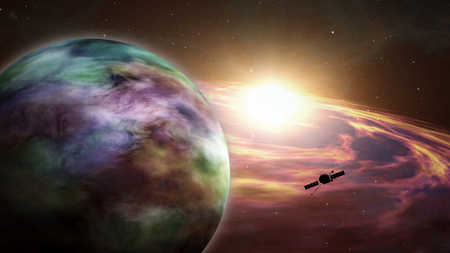 Space probe orbiting and exploring distant solar system and exoplanets. Realistic deep cosmos satellite travel light-years from earth 3D illustration.
