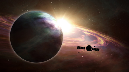 Space probe orbiting and explore distant solar system and exoplanets. Realistic universe satellite travel light-years from earth 3D illustration.