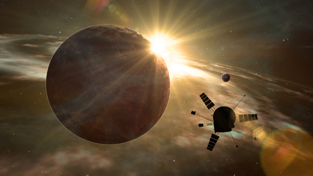 Space probe orbiting and exploring distant solar system and exoplanets. Realistic deep cosmos satellite travel light-years from earth 3D illustration. Planet sunrise with light flare.