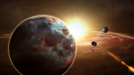 Space probe orbiting and explore distant solar system and exoplanets. Realistic deep cosmos satellite travel light-years from earth 3D illustration. Stock fotó