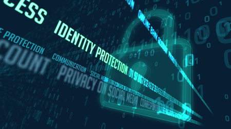 Identity protection and data encryption in cyber space 3D illustration. Internet communication and cyber security concept with padlocks symbol on digital background. Stock Photo