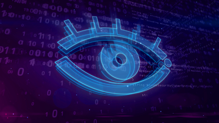 Cyber spy and surveillance in internet. Spying and tracking privacy in cyberspace with eye symbol on digital background 3D illustration.