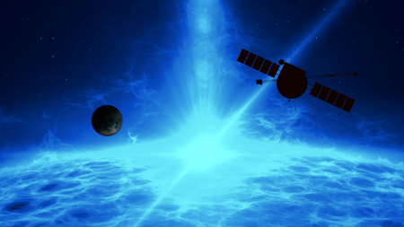 Distant exoplanet exploration by space probe. Flight over large blue quasar surface with gamma rays, plasma eruption and energy explosion. Astronomy art concept 3d illustration. Stock Photo