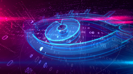 Cyber spy and surveillance in internet. Spying and tracking privacy in cyberspace with eye symbol on digital background 3D illustration. 스톡 콘텐츠 - 117170837