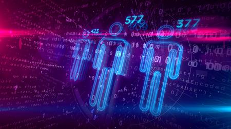 Concepto de calificación crediticia y puntuación social sobre fondo digital. Analizar y perfilar personas mediante ilustración 3D de tecnología de inteligencia artificial.