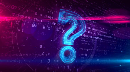 Question mark sign on digital background. Abstract concept of internet searching and cyber education 3D illustration.