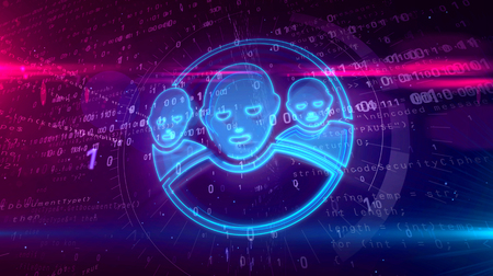 Social media communications in cyberspace symbol on digital background. Human faces icon as private networking abstract concept 3D illustration.