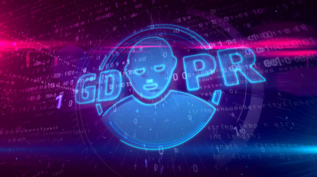 GDPR - general data protection regulation law on digital background. Human face symbol as privacy security in european union 3D illustration. Stock Photo