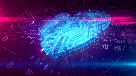 Cyber heart symbol in cyberspace. Abstract 3D illustration of love symbol on digital background.