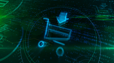 Internet marketing and e-commerce symbol with shopping cart. Cyber business icon on digital background. Online sale abstract 3D illustration.