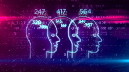 Social scoring, people rating and human behavior analysis. Profiling and measurement citizens by artificial intelligence technology. Futuristic abstract concept on digital background 3D illustration.
