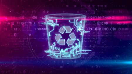 Computer trash symbol on dynamic digital background. Digital data delete icon abstract 3D 3D illustration.