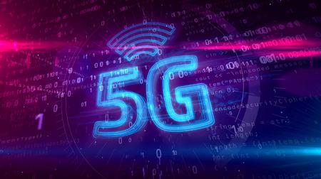 5G - 5th generation of cellular mobile communications 3D illustration. Modern high speed wireless phone network 3D hologram symbol on dynamic digital background.