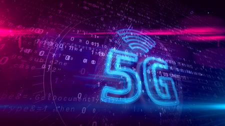 5G - 5th generation of cellular mobile communications 3D illustration. Modern high speed wireless phone network 3D hologram symbol on dynamic digital background. 写真素材 - 119871369