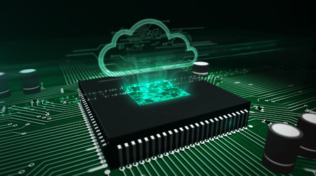 Cyber security concept with cloud hologram over working cpu in background. Digital computing, server, data storage and computer analyzing abstract 3d illustration. Futuristic circuit board. Stock Photo
