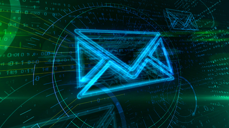 Internet email communication in cyberspace with envelope sign on digital background. Correspondence safety and digital message symbol abstract concept 3d illustration.