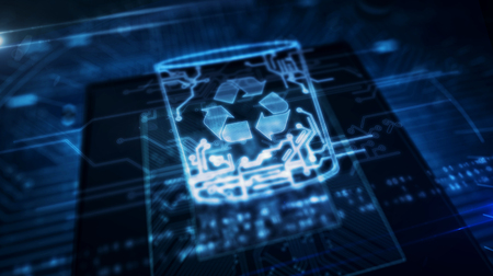 Data management, files deleting, right to forgotten concept symbol hologram on dynamic digital background. Circuit board 3d illustration. Foto de archivo - 124569020
