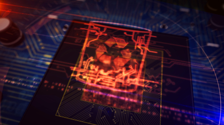 Data management, files deleting, right to forgotten concept symbol hologram on dynamic digital background. Circuit board 3d illustration. Фото со стока - 124569023