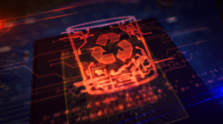 Data management, files deleting, right to forgotten concept symbol hologram on dynamic digital background. Circuit board 3d illustration. Фото со стока
