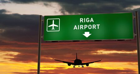 Airplane silhouette landing in Riga, Latvia. City arrival with airport direction signboard and sunset in background. Trip and transportation concept 3d illustration.