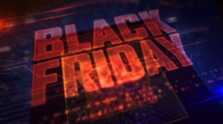 Black friday glowing hologram over working cpu in background. Futuristic and modern sale promotion and shopping advertise 3d illustration.