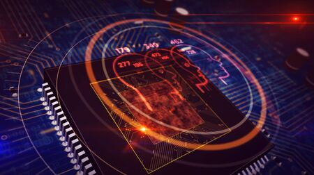 Social scoring and ranking concept with people shape hologram over cpu in background. Citizens profiling and analysing by artificial intelligence technology. Futuristic circuit board 3d illustration. Reklamní fotografie