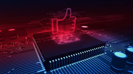 Thumb up sign hologram over working cpu in background. Like hand symbol, success and social media sign. Futuristic over circuit board 3d illustration.