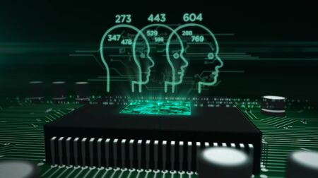 Social scoring concept with faces symbols hologram over cpu in background. Futuristic concept of citizens analysing and profiling by artificial intelligence technology. Circuit board 3d illustration.