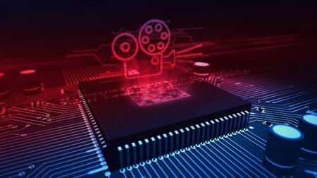 Holograma de proyector de película retro sobre cpu de trabajo en segundo plano. 5G, transmisión de TV, transmisión en tiempo real, reproductor de internet y concepto de cine privado, ilustración 3d. Foto de archivo