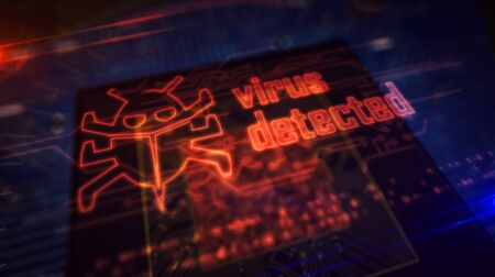 Virus detected hologram over working cpu in background. Worm, cyber attack, antivirus, firewall alert and danger warning concept. Futuristic 3d illustration with circuit board.