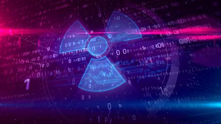 Cyber war with nuclear symbol hologram intro on futuristic background. Modern concept of nuclear power, science, energy, radioactive danger and digital weapon 3d illustration.