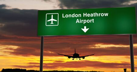 Airplane silhouette landing in London Heathrow, England, Great Britain. City arrival with airport direction signboard and sunset in background. Trip and transportation concept 3d animation.
