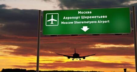 Airplane silhouette landing in Moscow, Moskva Sheremetyevo, Russia Federation. City arrival with airport direction signboard and sunset in background. Trip and transportation concept 3d illustration.