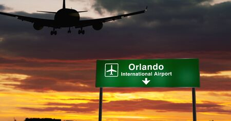 Airplane silhouette landing in Orlando, Florida, USA. City arrival with airport direction signboard and sunset in background. Trip and transportation concept 3d animation.