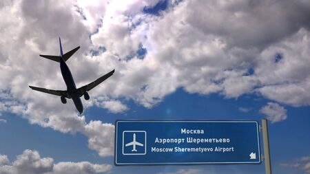Airplane silhouette landing in Moscow, Moskva Sheremetyevo, Russia. City arrival with international airport direction signboard and sky in background. Travel and transport concept 3d illustration.
